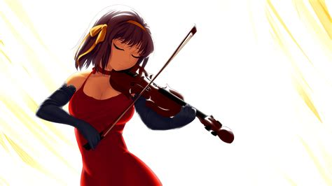 anime wallpaper violin the melancholy of haruhi suzumiya full hd wallpaper and