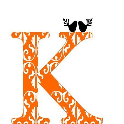 Alphabet Script K Cufflinks custom k alphabet letter damask orange monogram k decor