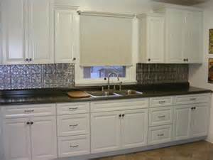 metal backsplashes for kitchens white transitional kitchen staggered wall cabinets metal look backsplash my room designs