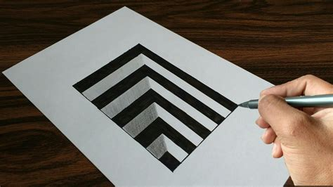 Sketches 3d Easy by Easy 3d Drawing Images How To Draw A Step In Line Paper
