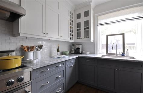 white and gray kitchen cabinets white upper cabinets dark lower cabinets contemporary