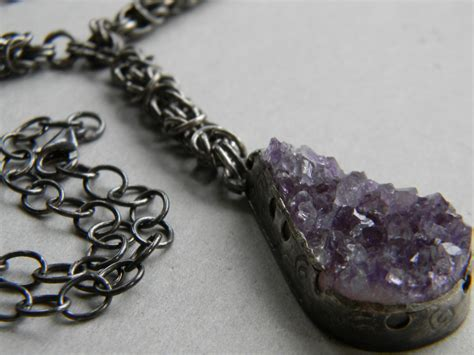 Handcrafted Artisan Jewelry - ancient amethyst y drop necklace handmade artisan