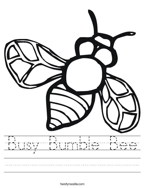 busy bumble bee worksheet twisty noodle