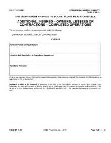 Blanket Certification Letter fillable additional insured endorsement sample form fill online