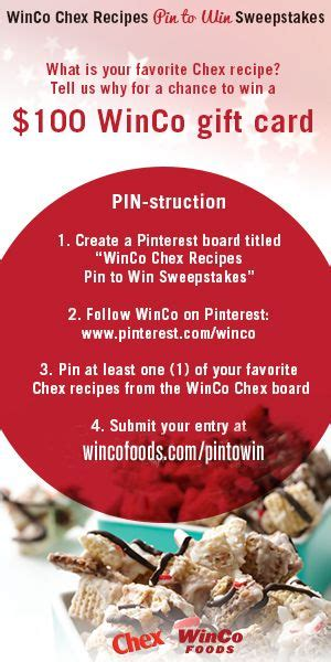 Winco Gift Cards - 17 best images about winco chex recipes pin to win sweepstakes on pinterest