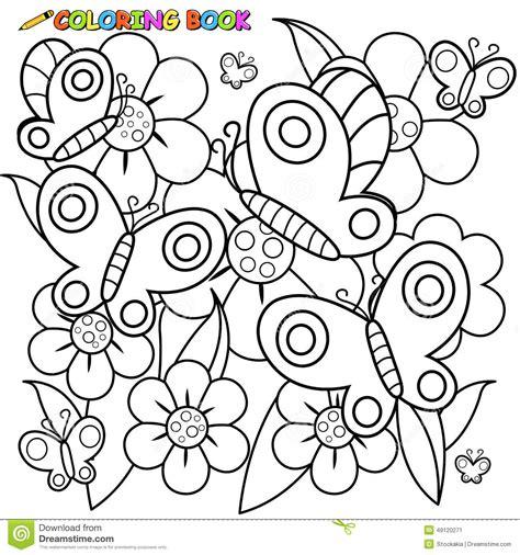 farfalle e fiori della pagina del libro da colorare