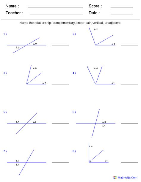 geometry worksheets angles worksheets for practice and