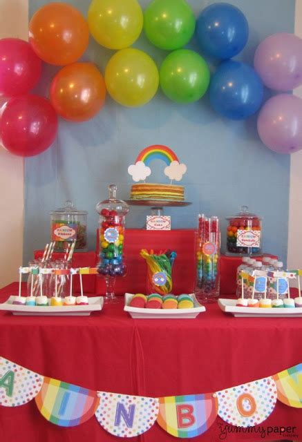 printable rainbow party decorations party fun for little ones rainbow party ideas