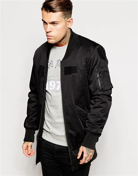 Promo Jaket Denim Hoodie Black Garment Murah lyst asos longline bomber jacket with patches in black for