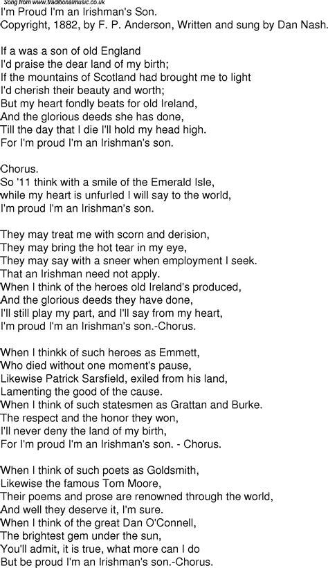 An American Lyrics Time Song Lyrics For 05 I M Proud I M An Irishmans