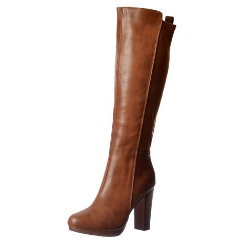 womens elasticated stretch work casual mid heel knee high