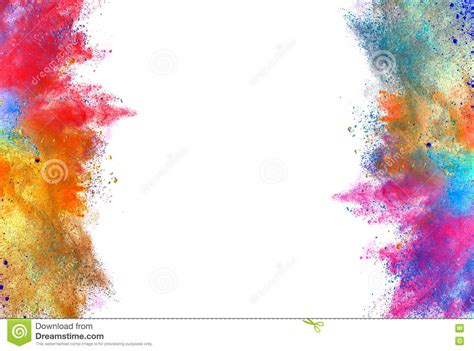 white colored explosion of colored powder on white background stock