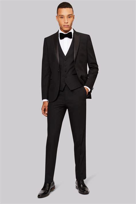 moss london skinny fit black tuxedo jacket