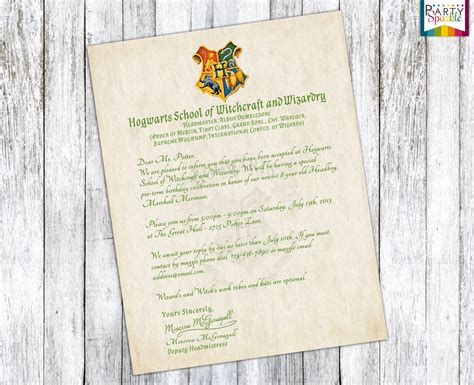 Acceptance Letter For Invitation Hogwarts Acceptance Letter Invitation Personalized Harry