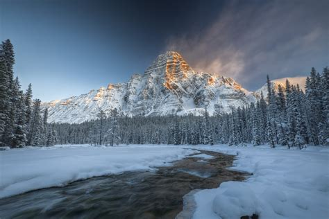 nature mountain snow winter water canada trees
