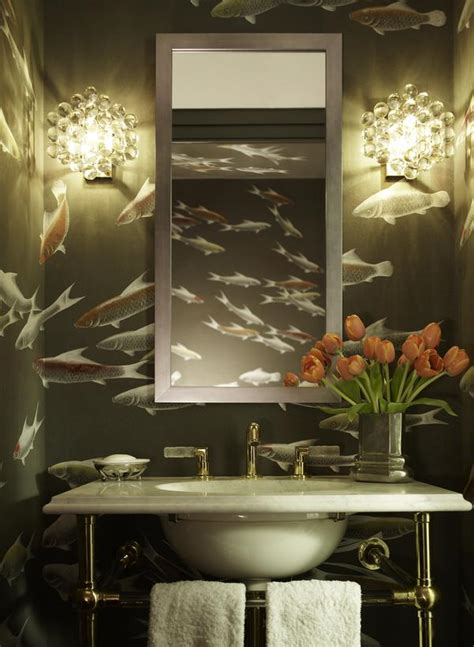 restickable wallpaper powder room with fish wallpaper hgtv