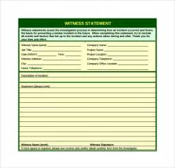 Witness Form Template by Witness Statement Template 12 Free Documents