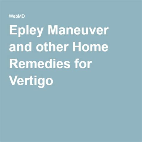 25 best ideas about epley maneuver on vertigo