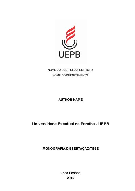 Modelo TCC Universidade Estadual da Paraíba - UEPB