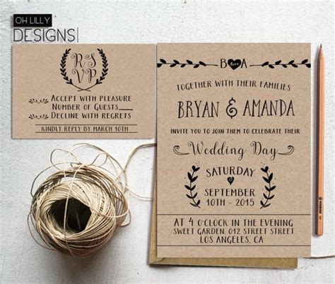Free Rustic Chic Templates For Rsvp Cards by Rustic Wedding Invitation Printable Kraft Paper Rustic
