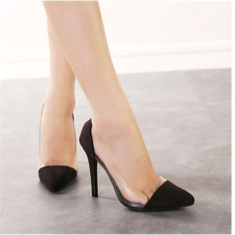 black suede clear pvc high heel court shoes