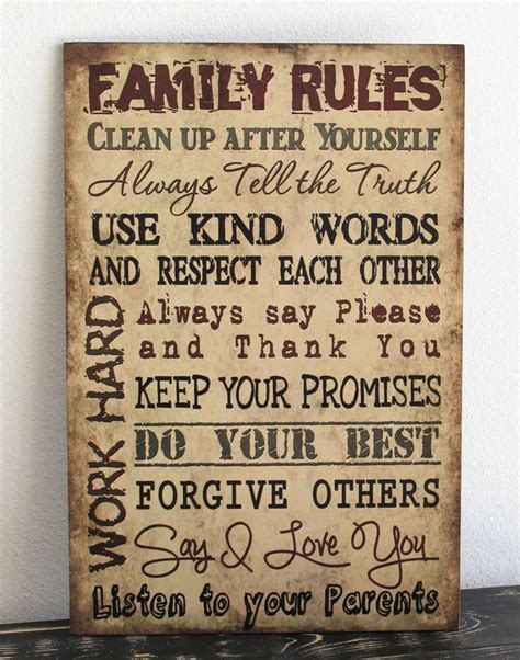 home decor rules primitive wood sign 12 quot x 18 quot tan family rules rustic
