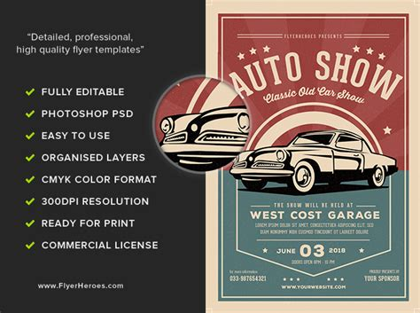 Old Classic Car Show Flyer Template Flyerheroes Show Template