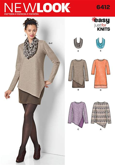 sewing pattern offers uk new look 6412 misses tunics and dresses