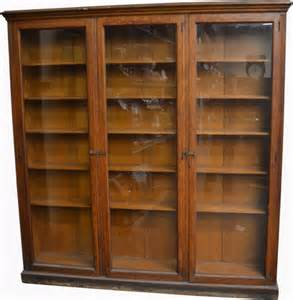 Library Bookcase With Glass Doors 476 Large Wood 3 Glass Door Library Bookcase Lot 476