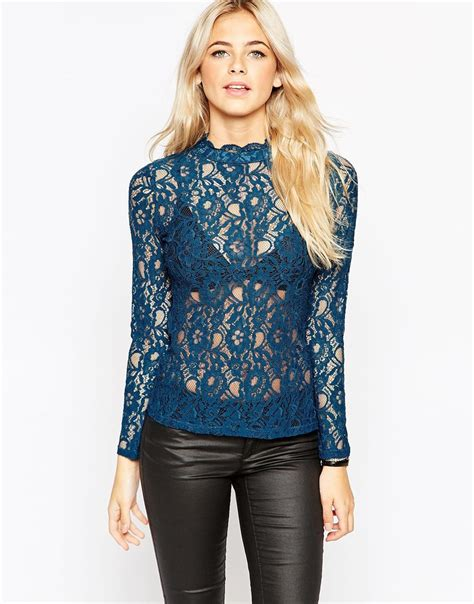 High Neck Lace Top lyst oasis high neck lace top in blue