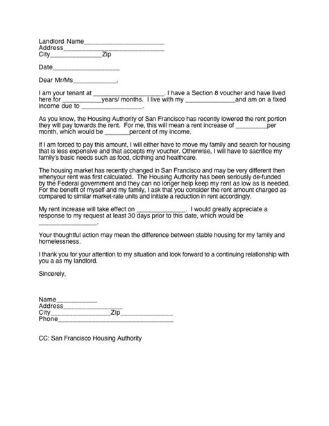 Rent Increase Letter To Housing Authority 30 Day Notice To Landlord Real Estate Forms