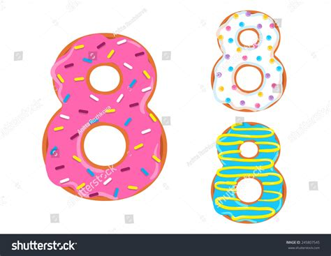 Donuts Number royalty free sweet donut font vector number 8 245807545