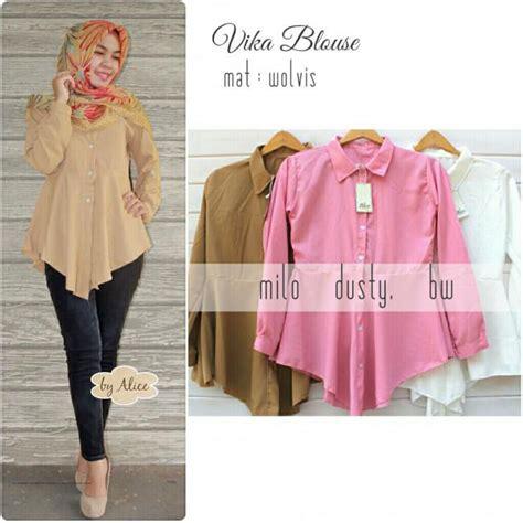 Blouse Wanita Tunik Baju Celana Panjang Polos Tiffani Set Biru baju muslim terbaru vika blouse grosir baju muslim