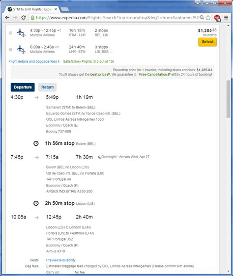 on expedia how i tell if a flight on airlines is a single ticket or
