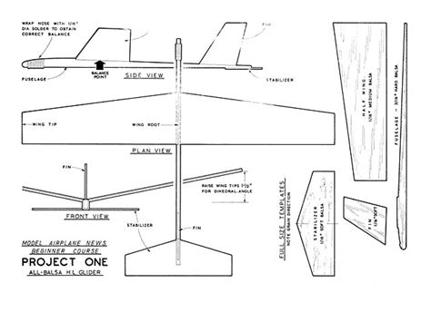 Balsa Glider Template by 5 Steps Project 1 Plan Thumbnail Model Planes