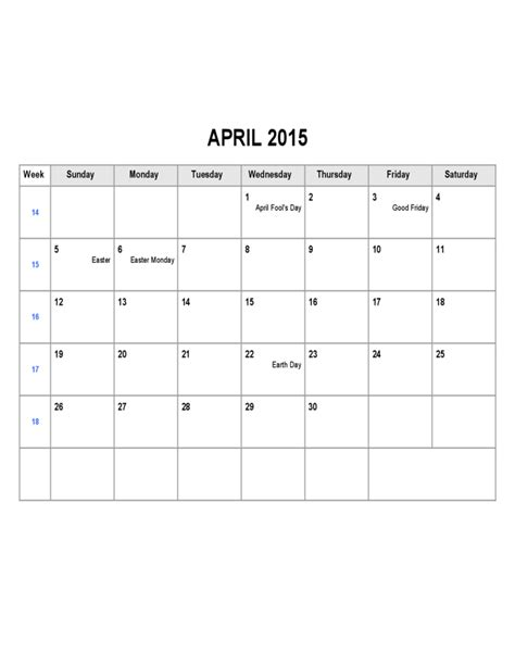 april 2015 calendar template free download