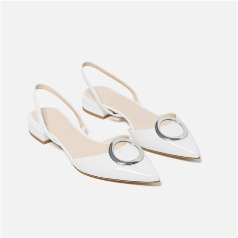 zara flat shoes with detail in white lyst