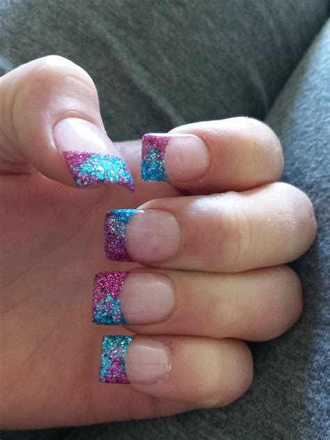 2 color nail rockstar acrylic nails 2 blended colors at the tip and