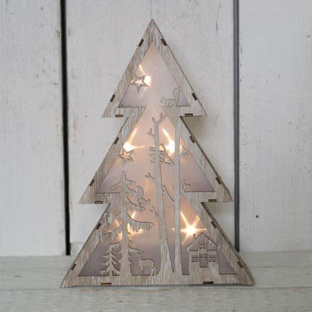 christmas tree light pole wood wooden tree led light up 29 5cm 34508 display and light up rosefields