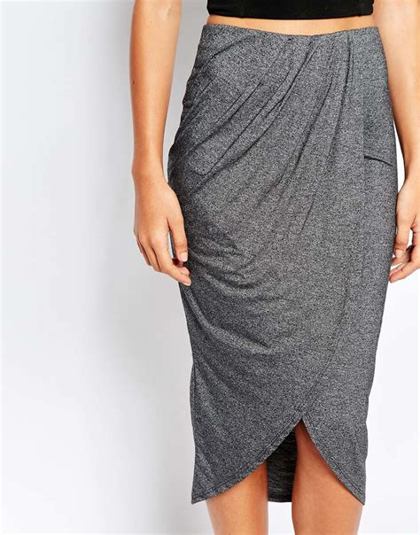 warehouse wrap midi skirt in gray lyst