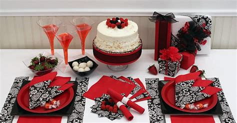 party themes with red black and silver table decoration ideas red solid color