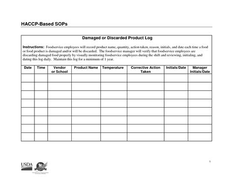 4 Best Images Of Haccp Food Temperatures Charts Haccp Food Temperature Log Sheet Exles Of Haccp Log Templates