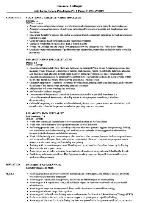 Rehabilitation Resume by Rehabilitation Specialist Resume Sles Velvet