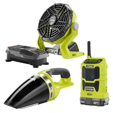 Battery Fan Home Depot by Ryobi One 18 Volt Radio Fan And Vac Kit Just 99 00