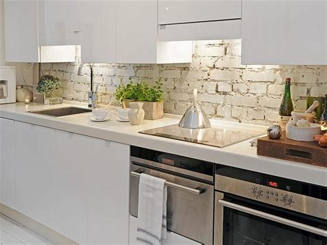 backsplash for a white kitchen elegant brick backsplash in the kitchen presented with