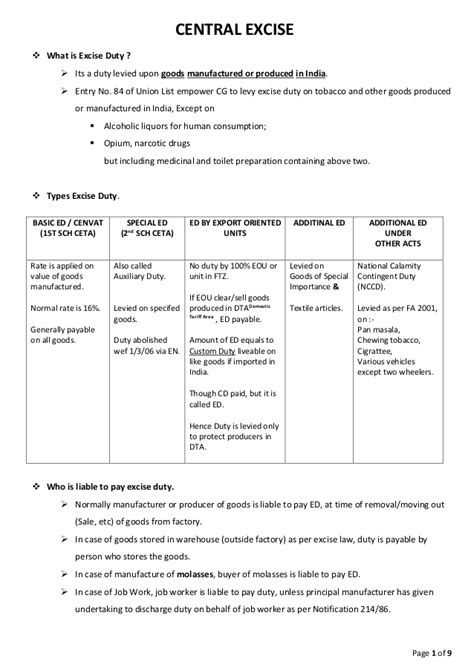 Taxation Notes For Mba by B Hons Indirect Tax Central Excise Notes