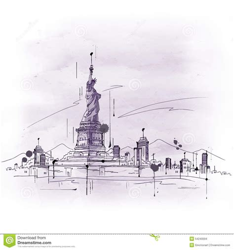 sketchbook usa sketch of the statue of liberty stock