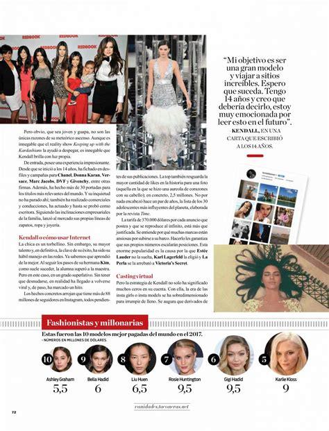 vanidades address kendall jenner in vanidades magazine chile march 2018