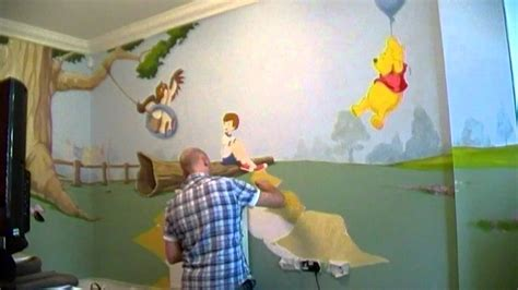 winnie the pooh bedroom wallpaper winnie the pooh bedroom mural wall 3 time lapse youtube