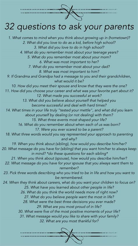 Biography Questions To Ask | 32 questions to ask your parents about their lives life
